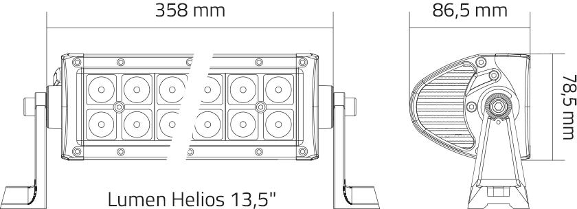 Lumen Helios størrelsesdiagram